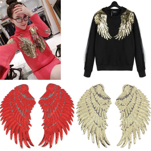 1pair Clothes Wings Sequin Motif Applique Embroidered Iron On Patches Sticker HC