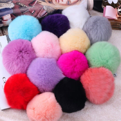 5× 6CM DIY Genuine Rabbit Fur Ball Chain Key Bag Pendants Fur Pompon Keychains 7
