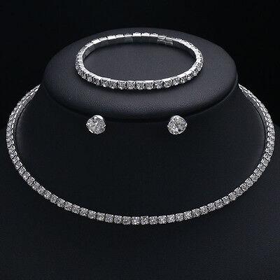 Bridesmaid Wedding Jewelry Set Crystal Necklace, Earrings & Bracelet Bridal 3