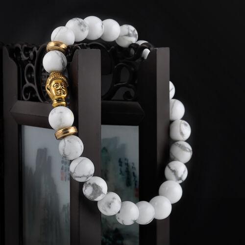 Men Women Natural Gemstone Beads Lava Rock Stone Bracelet Lion/Buddha Head Bead 8
