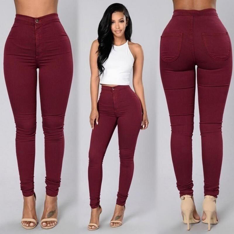 Women Stretch Pencil Pants High Waist Skinny Jeggings Jeans Casual Slim Trousers 2