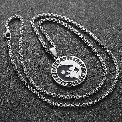 Vikings Pendant Yin Yang Wolf Sun Moon Stainless Steel Gift Norse Necklace QK