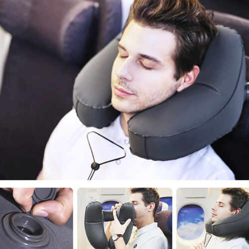 Inflatable Hooded Travel Pillow Head Neck Support Rest Cushion for Air Planes US 4
