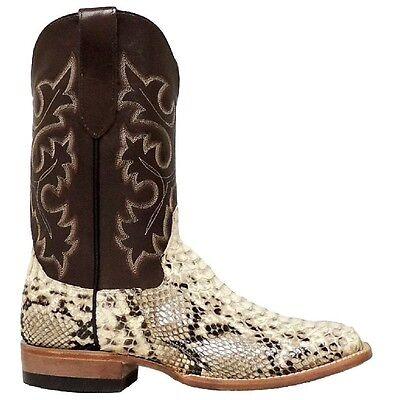 c07066140c5 COWTOWN MEN'S SQUARE Toe Python Snakeskin Leather Cowboy Boots Q818