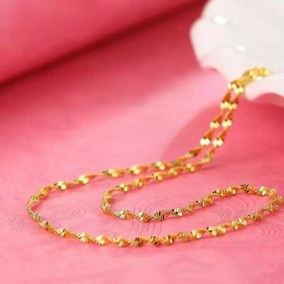 """1PC 24K Gold Plated 2mm Women's Twist Water Wave Rope Chain Necklace 20"""" N65 2"""