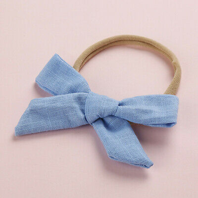 Kids Baby Toddler Cotton Linen Nylon Bow Headband Solid Hairband Hair Ring #N 10