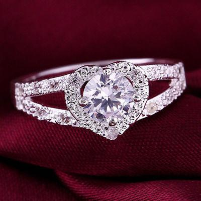 Cheap Fashion Silver Plated Women Crystal Wedding Bridal Lady heart Ring 2