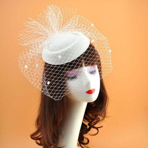 Girls Felt Fascinator Hat Topper Mesh Fishnet Veil Hair Clips Wedding Cocktail 7