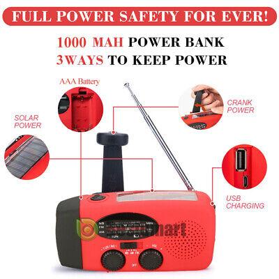 1000mAh Emergency Solar Hand Crank Radio NOAA Weather w/AM/FM LED Flashlight SOS 3