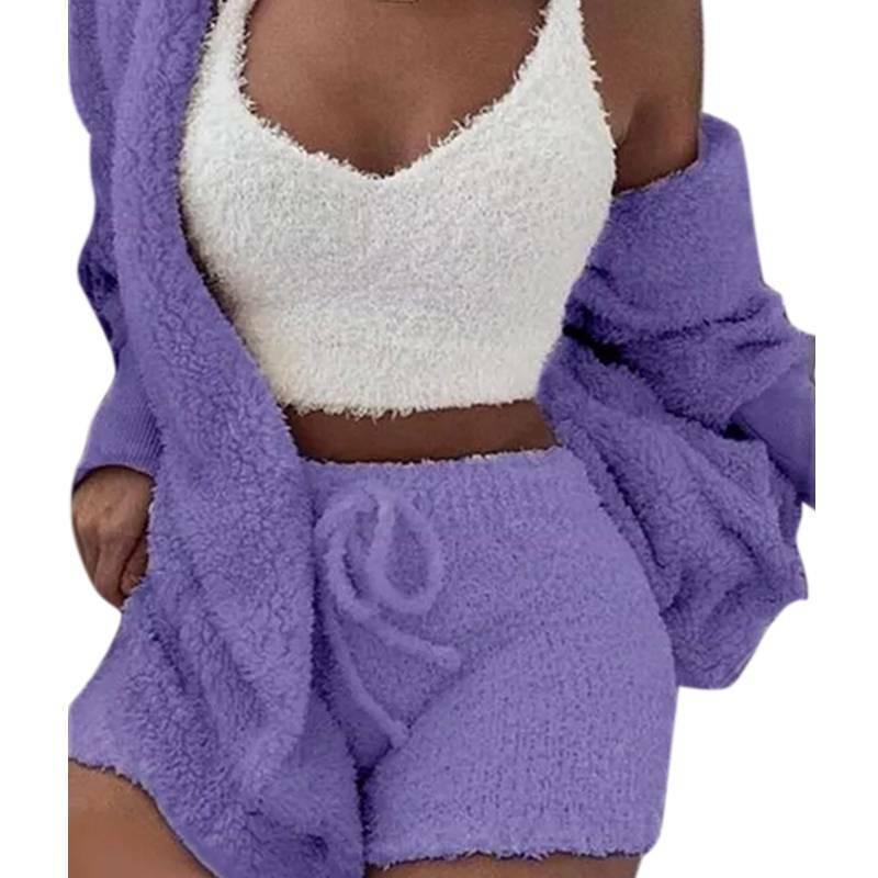 Women Fleece Sleepwear Hoodie Jacket + Crop Top + Shorts 3PCS Outfits Loungewear 9