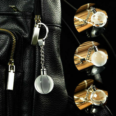 Crystal Ball 3D Engraved Key Chain Ring Keyring Keychain LED Glow Pendant Gift 3