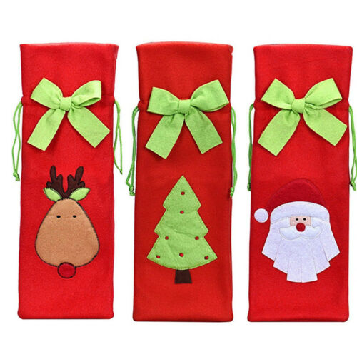 Christmas Table Decorations Santa Tree Wine Bottle Cover Bags Dinner Party Gift 4