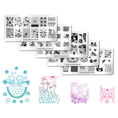 NICOLE DIARY Nail Art Stamping Plates Fantastic Tropical Geometry Image Plate 3