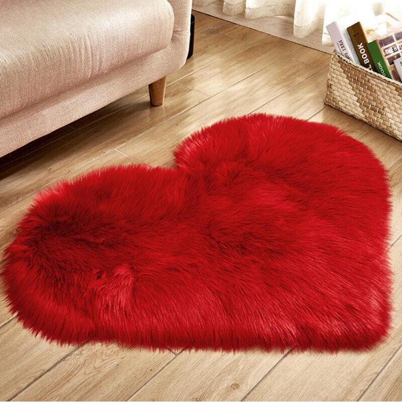 Heart Shaped Fluffy Rugs Anti-Skid Shaggy Area Rug Carpet Home Bedroom Floor Mat 7