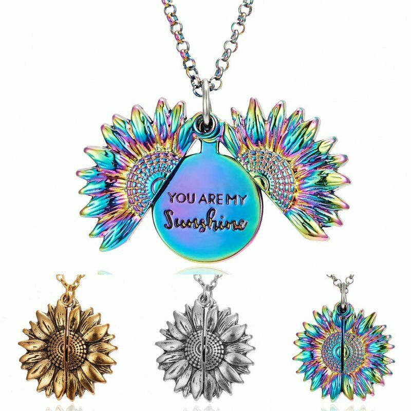 Sunflower You are my sunshine Open Locket Colorful Pendant Chain Necklace Gift 2