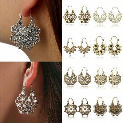 Boho Women Jewelry Holiday Gypsy Tribal Ethnic Mandala Hollow Hoop Earrings Gift 7