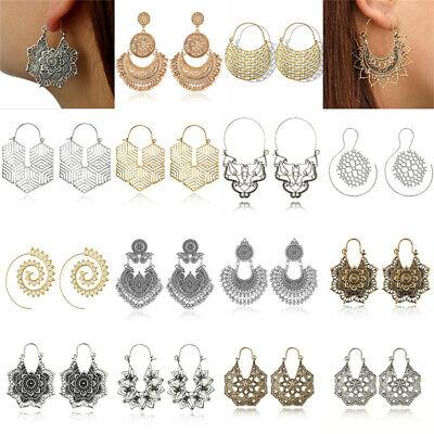 Boho Women Jewelry Holiday Gypsy Tribal Ethnic Mandala Hollow Hoop Earrings Gift 4