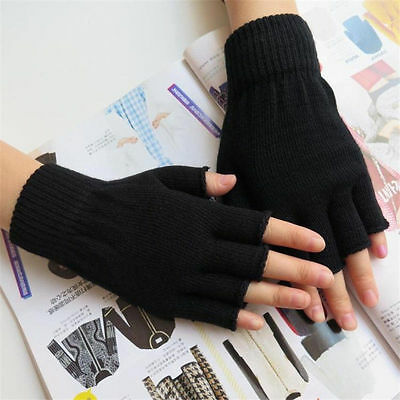 High Quality Ladies Women Black Half Finger Magic Thermal Gloves 2