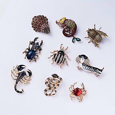 Rhinestone Crystal Animal Frog Turtle Elephant Cat Dog Brooch Pin Women Jewelly 3