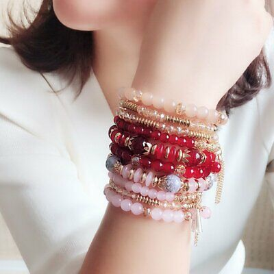 Women Boho Multi-layer Crystal Beaded Beads Bohemia Cuff Bracelets Set Bangle 9