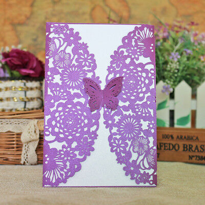 EXQUISITE HOLLOW LASER Cut Butterfly Wedding Invitation Cards Greeting Card