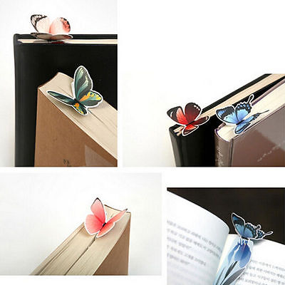 4pc Cute Butterfly On Flower Exquisite Paper Bookmarks Book Markers Readers Gift 4