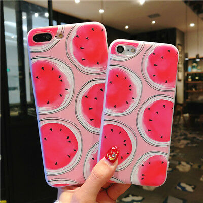 For iPhone X 8 6s 7 Plus Cute Fruits Pattern Slim Relief Matte Soft Case Cover 8