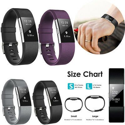 For Fitbit Charge 2 Strap Wrist Band Spare Metal Buckle Wristband Soft Silicone 2