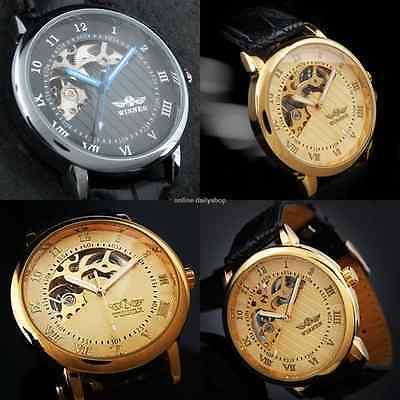 Men's Skeleton Mechanical Wrist Watch Steampunk Luxury Black Leather Stainless 3