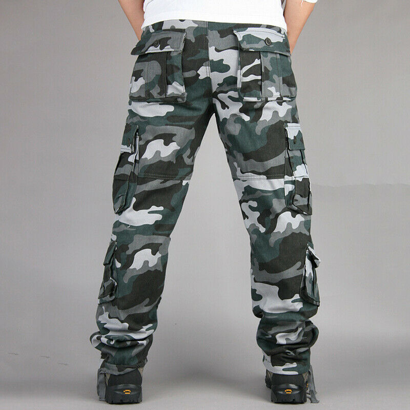 Mens Combat Cargo Trousers Work Tactical Military Army Camo Chino Long Pants AU 12