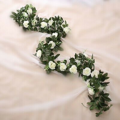 2.5m Artificial Flower Silk Rose Leaf Garland Vine Ivy Home Wedding Garden Deor 2