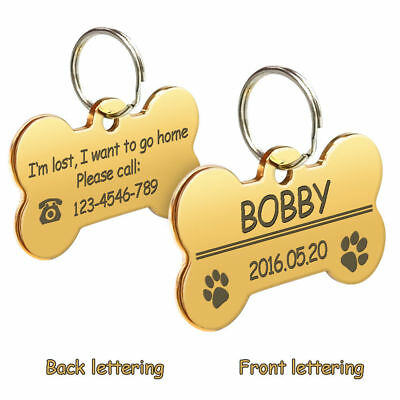 Bone Shape Custom Personalized Engraved Dog Tag Pet Cat Name ID Tag Phone Tag 8