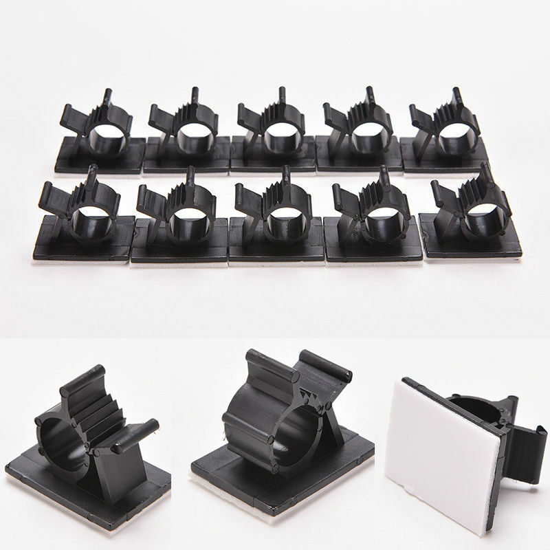 10x Cable Clips Black Adhesive Cord Management Wire Holder Organizer Clamp 2
