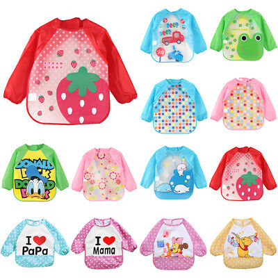 Baby Toddler Kids Cartoon Feeding Bibs Long Sleeve Plastic Feeding Smock Apron 2