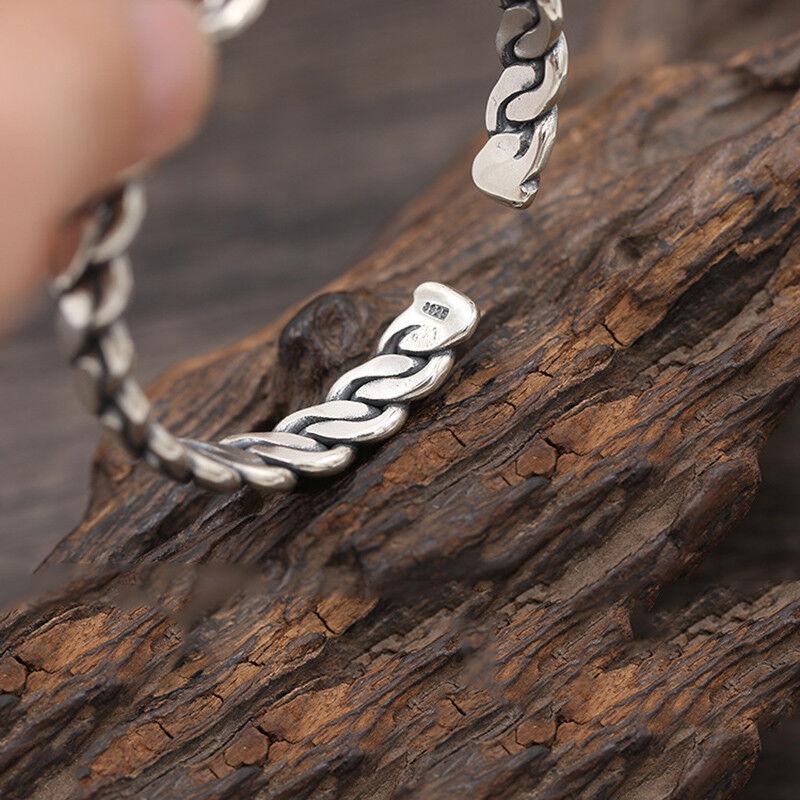 925 Sterling Silver Bangle Men Jewelry Weave Opening Bracelet viking jewelry 3