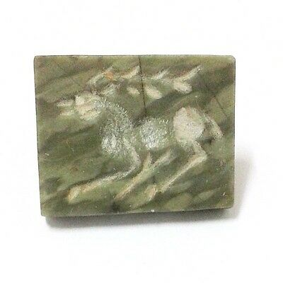 Old Near Eastern Intaglio Animal Carving Jade Stone Stamp Collectible Green 6