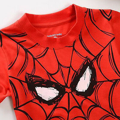 Kids Boy Spiderman T-shirt Cartoon Short Sleeve Casual Tops Summer Clothes 2-7 Y 4