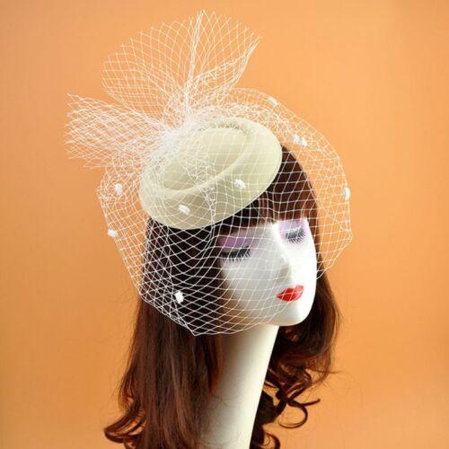 Girls Felt Fascinator Hat Topper Mesh Fishnet Veil Hair Clips Wedding Cocktail 5