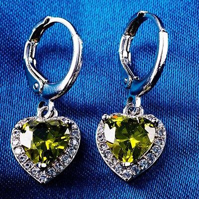 Women's Fashion 925 Sterling Silver Ear Stud Dangle Hoop Party Gamstone Earrings 6