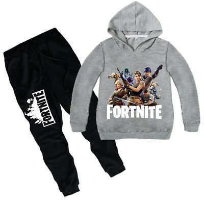 2Pcs Fortnite Sweater Children/'s Round Neck Hooded Sportswear Bottoms Age 6-12