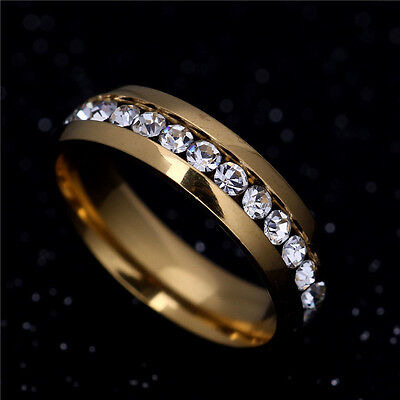 316L Stainless Steel Wedding Silver/Gold Band Men Women Couple CZ Ring Size 5-13 5