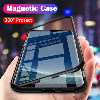 Magnetic Tempered Glass Case Cover Samsung Galaxy S8 S9 S10 Plus S10E Note 8 9 11