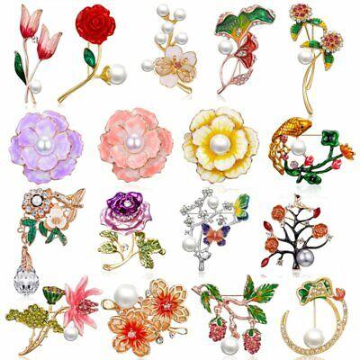 Fashion Rhinestone Crystal Flower Plant Bridal Bouquet Enamel Brooch Pin Jewelry 3
