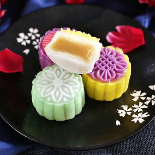 6 Flower Stamps Moon Cake Mould 50g Transparent Round Mooncake Mold Baking Decor 2