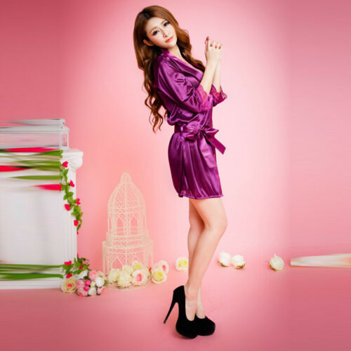Women Sexy Lingerie Sleepwear Satin Silk Lace Robes Sleep Night Dress Skirt LG 3