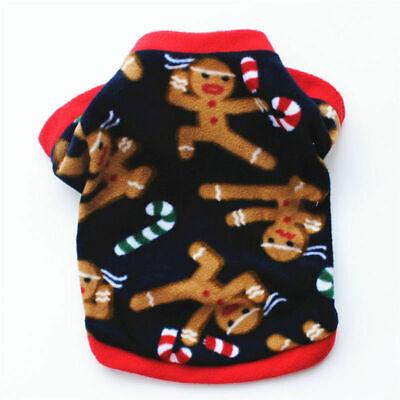 Cute Dog Puppy Christmas Santa Warm Costumes Coat Clothes Pet Apparel Shirt US 10