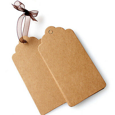 100Pcs BLANK Brown Kraft Paper Hang Tags with String Punch Label Price Cards ZY 8