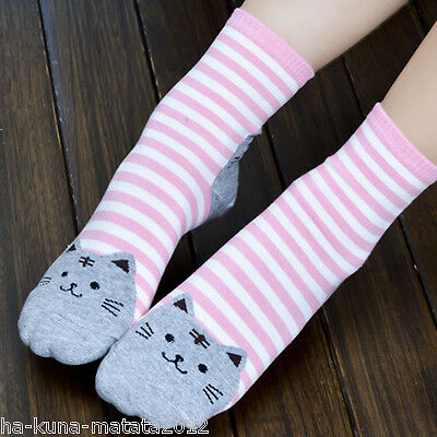 UK Sale: Fun RED Stripe CAT Cotton Ankle SOCKS One Size UK 12-4 approx New 1pr 6