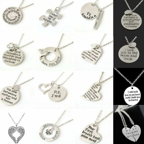 Family couple Heart Love Necklace gold Silver Pendant Women Charm Chain Jewelry 3