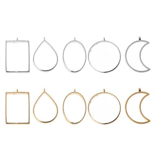 10Pcs Geometric Hollow Pressed Flower Resin Blank Frames Pendants Jewelry Making 2